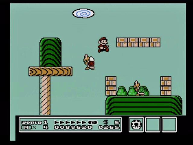 """""""Super Mario Brothers 3,"""" Shigeru Miyamoto, Takashi Tezuka, Hiroshi Yamauchi, directors; Satoru Iwata, executive producer; Konji Kondo, composer, Nintendo Entertainment System, 1990, Nintendo of America, Inc."""