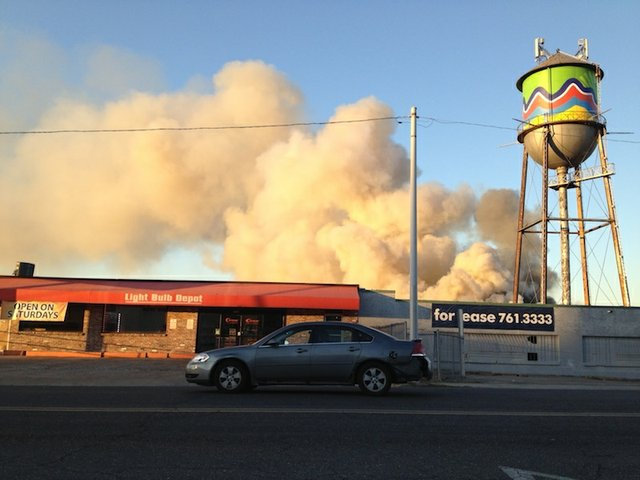 The view of the fire from Broad Avenue.