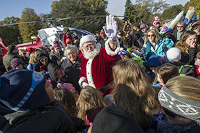 Santa lands on the lawn of the Pink Palace this Saturday to officially open the Enchanted Forest Festival of Trees benefiting Le Bonheur Children's Hospital.